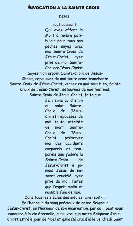 Invocation à la sainte croix